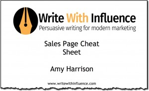 sales page cheat sheet small