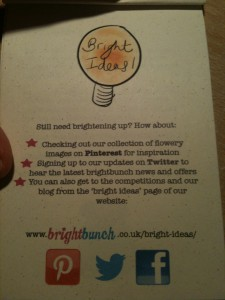 BrightBunch shares flower inspiration with customers via Pinterest, twitter and Facebook.