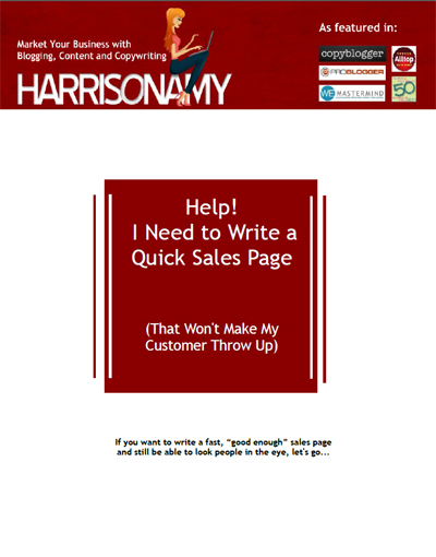 Free eBook: Write a quick sales page that won't make your customer throw up